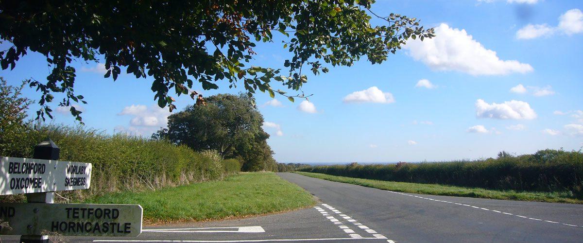 Bluestone Heath Road at Tetford Hill